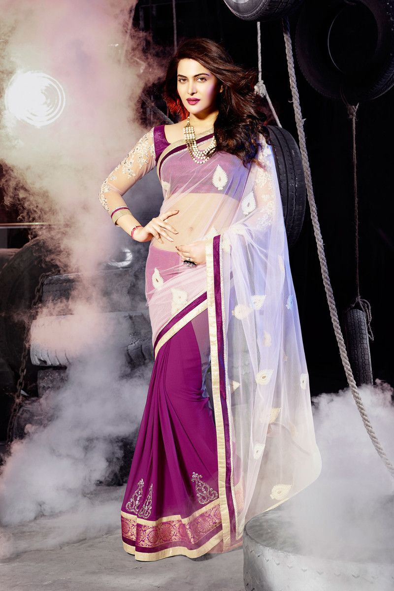 Off White and Pink Net and Georgette Fancy Designer Saree