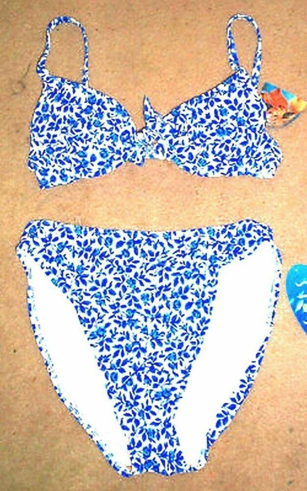 Sunsets Blue Mini Floral Push Up Bikini Swimsuit Size Medium Bottoms NWT  #Sunse…