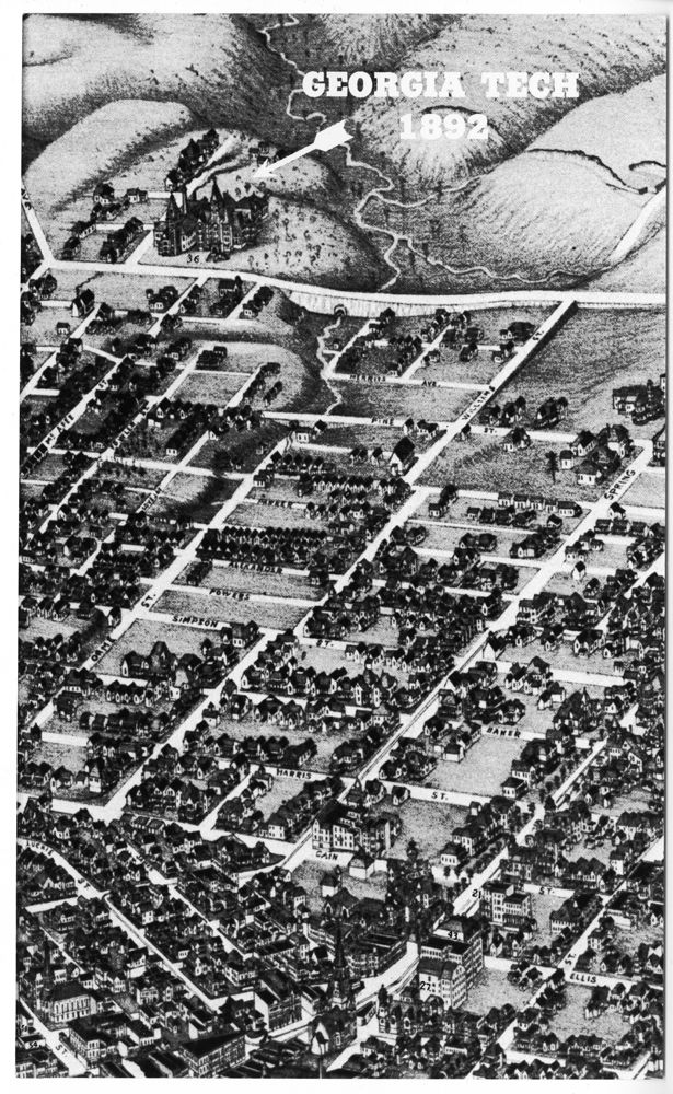 Drawing of Tech and Atlanta in 1892 Tech
