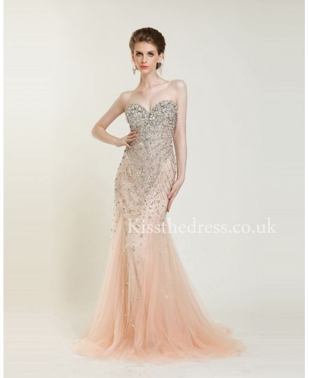 Gorgeous Blush Sweetheart Sequins Mermaid Prom Dress WDL5208 ...