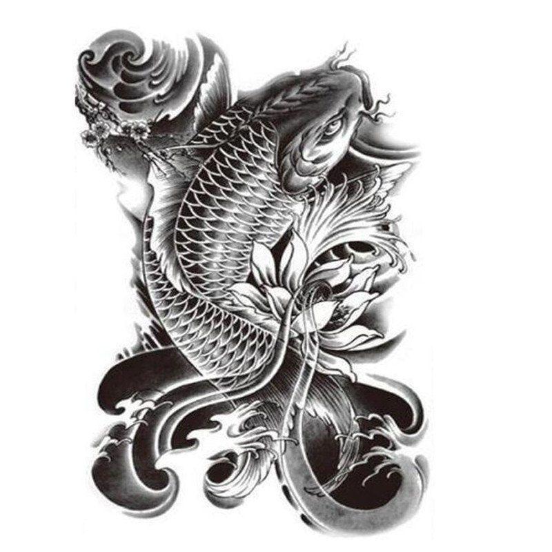 Koi Fish Tattoo Large Temporary Tattoo Fish Tattoo Black Tattoo Arm Tattoo Koi Fish Tattoo Tattoos For Guys Black Temporary Tattoo
