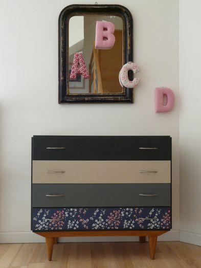 Commode vintage pieds compas annees 60 deco chambre fille romantique meuble customise - Deco chambre annee 60 ...