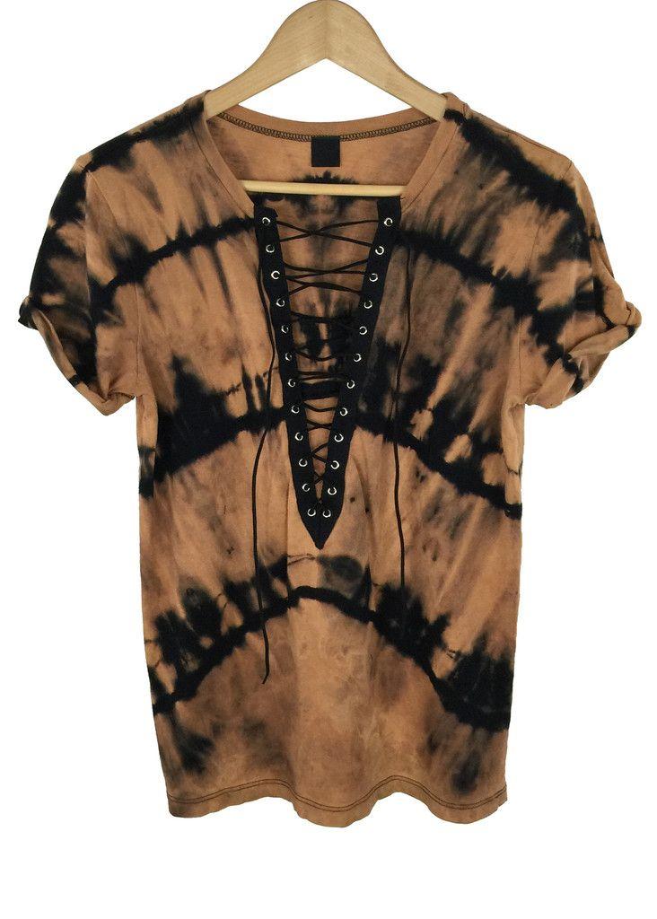 Bleach tie dye lace up shirt dye shirt bleach tie dye for How to bleach at shirt