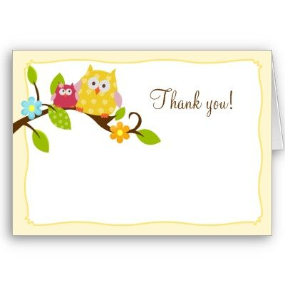 Happy Tree Owls Folded Thank You Notes  Note Cards Owl And Note