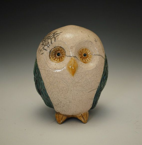 Raku Ceramic Owl Sculpture, Metallic Turquoise and White Crackle Glaze, Wheel Thrown, Hand Altered, Carved Wings, Art Pottery, Ceramic Art