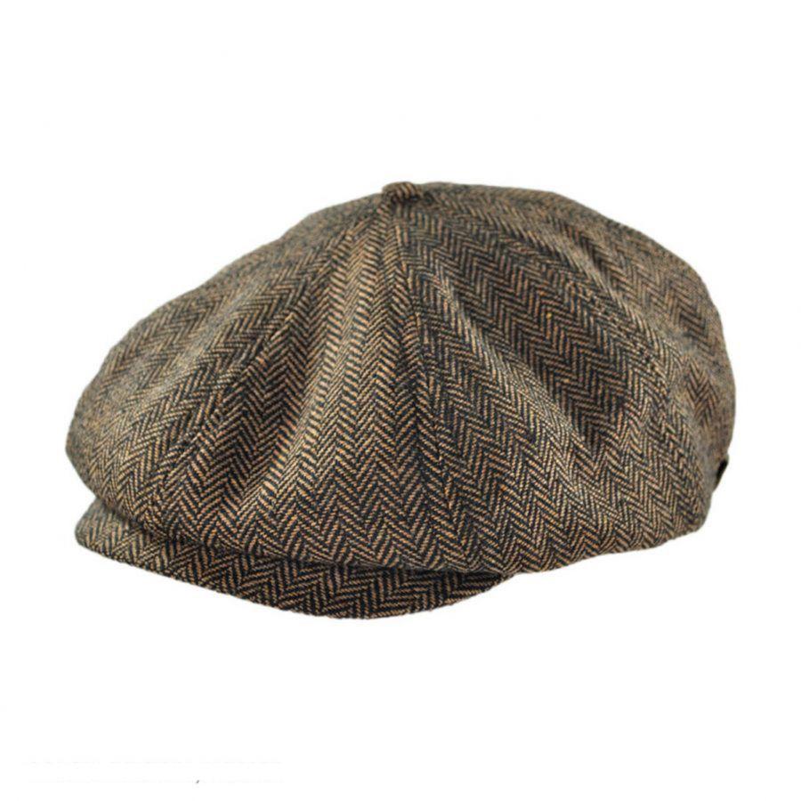 Brixton Hats Brood Bakerboy Cap-Black Herringbone
