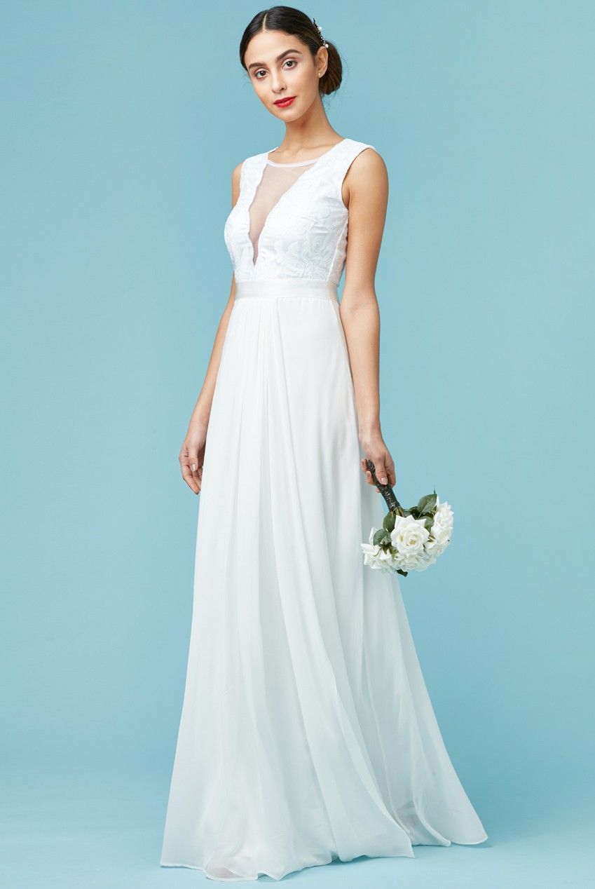 V Neckline Chiffon Maxi Wedding Dress White Front Dr589w