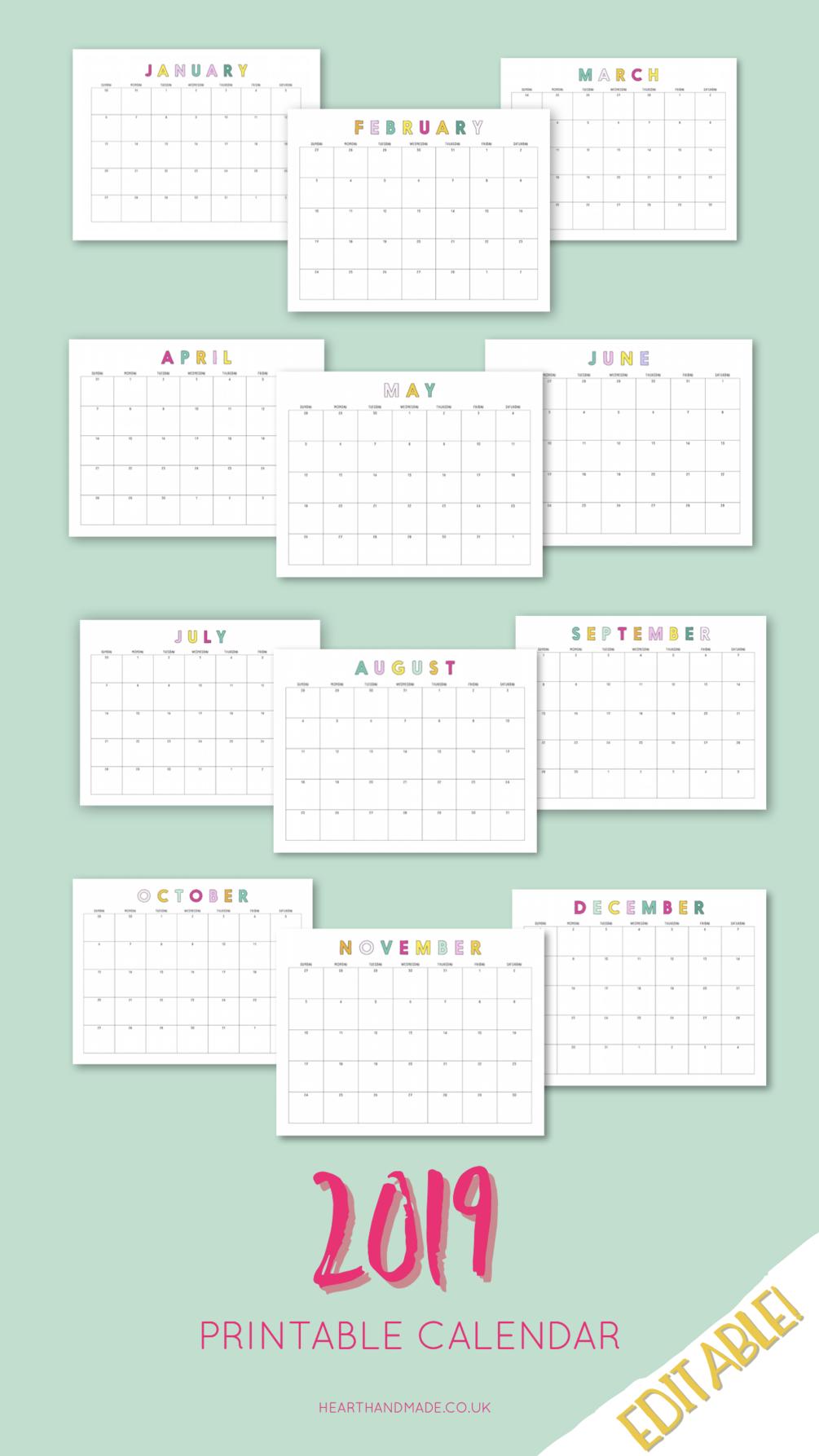2019 Rainbow Editable Calendar | NOT A Mom Group Board | Printable