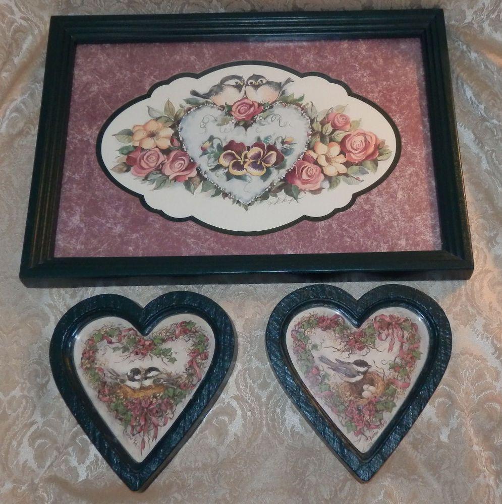 vtg 3 pc homco home interior bird picture set grouping barbara mock heart frames