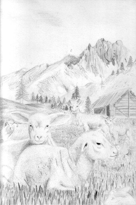 Dibujo a mano alzada hecho con lápiz y carboncillo. Paisaje de los alpes con dos corderos.