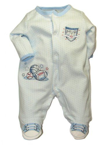 62934602f Baby Infant Boys Sports Footed Sleeper by Little Me Blue Preemie ...