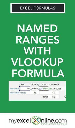 Excel Vlookup Named Range Excel Tips Pinterest Microsoft excel