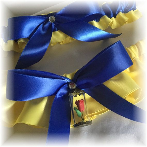 Yellow And Royal Blue Bridal Garter Beauty And The Beast Wedding