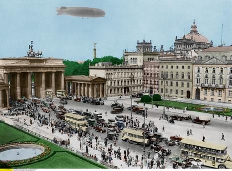 Berlin Brandenburger Tor Col Graf Zeppelin Uber Dem Brandenburger Tor Mit Max Liebermann Haus Bildmitte Und F Berlin Geschichte Fernsehturm Berlin Zeppelin