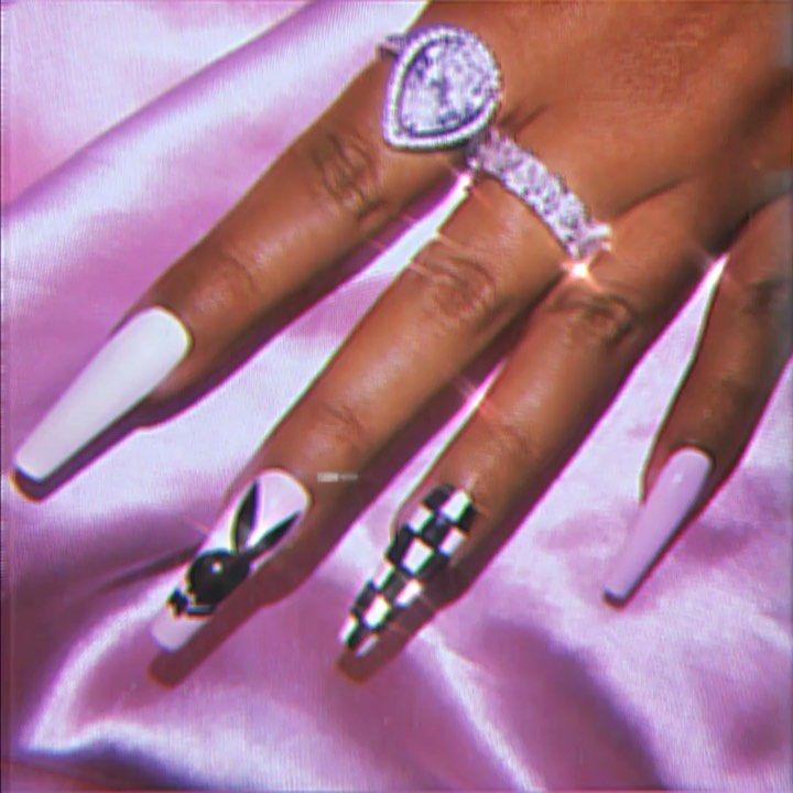 Whtever Press On Nail Set From Lolitanailzz Ring Bad Nails Short Acrylic Nails Designs Pretty Acrylic Nails