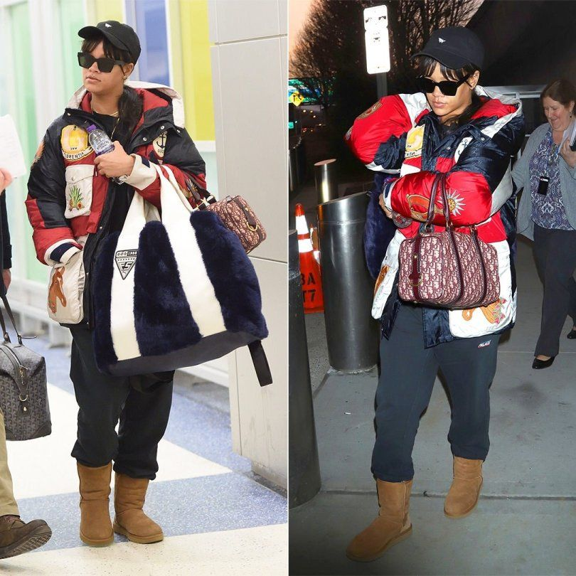 8e98e6ee8 Rihanna Gucci hooded jacket, Palace Skateboards black joggers, Ugg chestnut  classic boots, Off-White x Warby Parker large black sunglasses, Dior  oblique ...