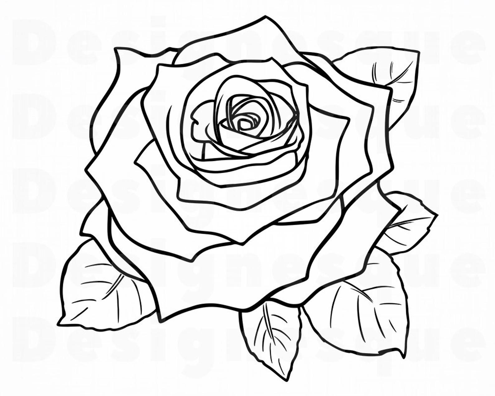 Rose Outline Svg Flower Outline Svg Rose Outline Clipart Etsy In 2020 Rose Outline Tattoo Rose Outline Tattoo Outline Drawing