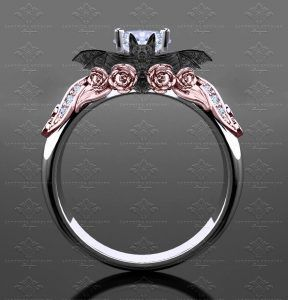 Valencia 130ct WhiteRose Gold Bat Engagement Ring Gothic Rings