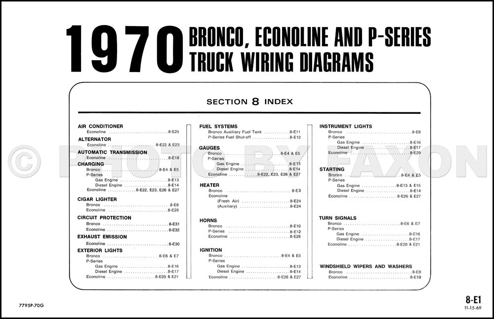 1970 Ford Bronco and Econoline Wiring Diagrams E100 E200 E300 Van ...