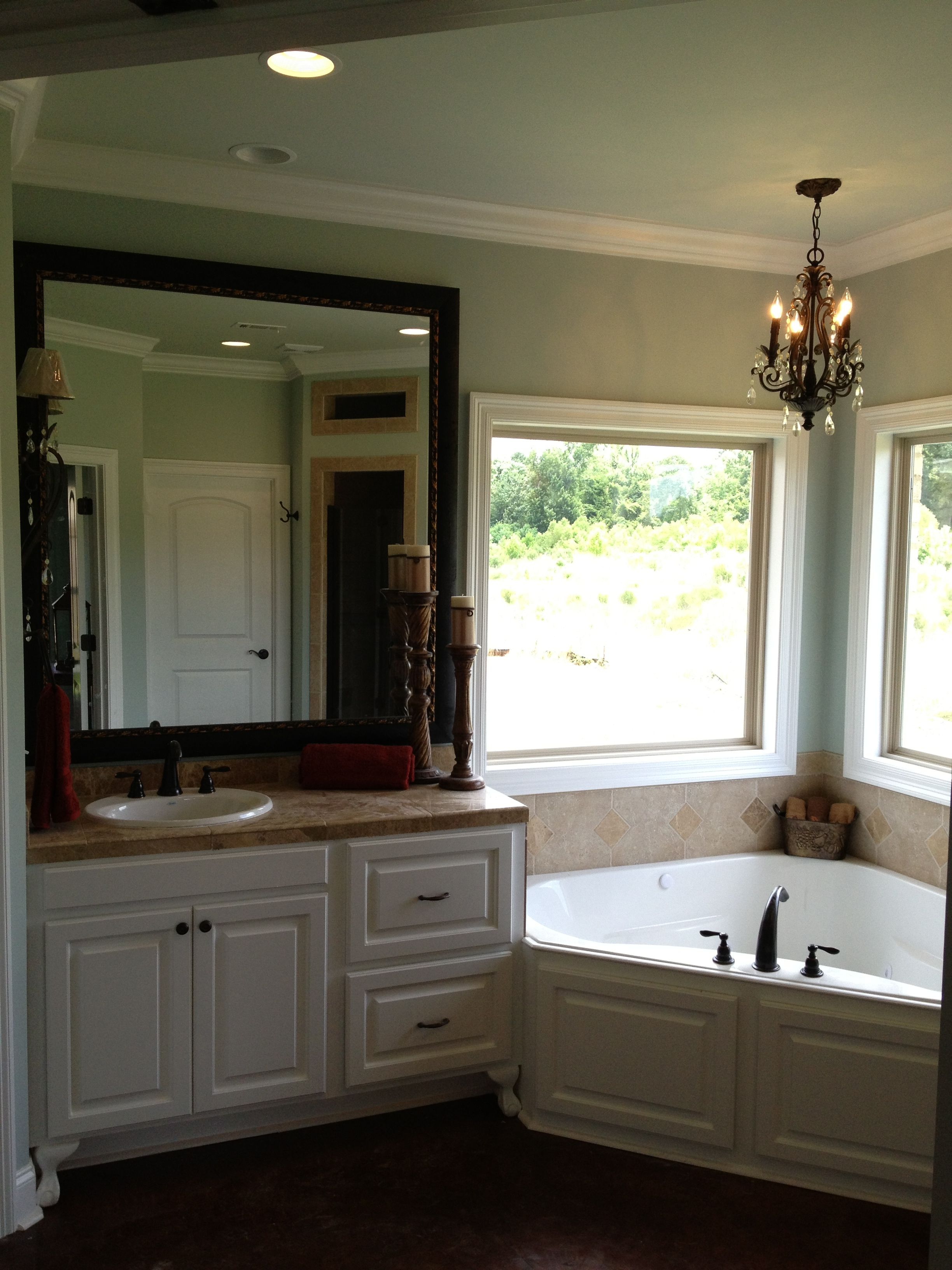 2 Separate Vanities Large Windows Unique Garden Tub Bathroom Design Bathroom Vanity Bathroom Renos