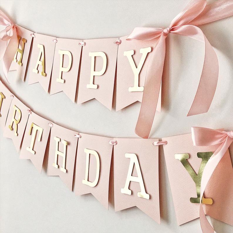 Blush rosa oro feliz cumpleaños banner personalizado chica