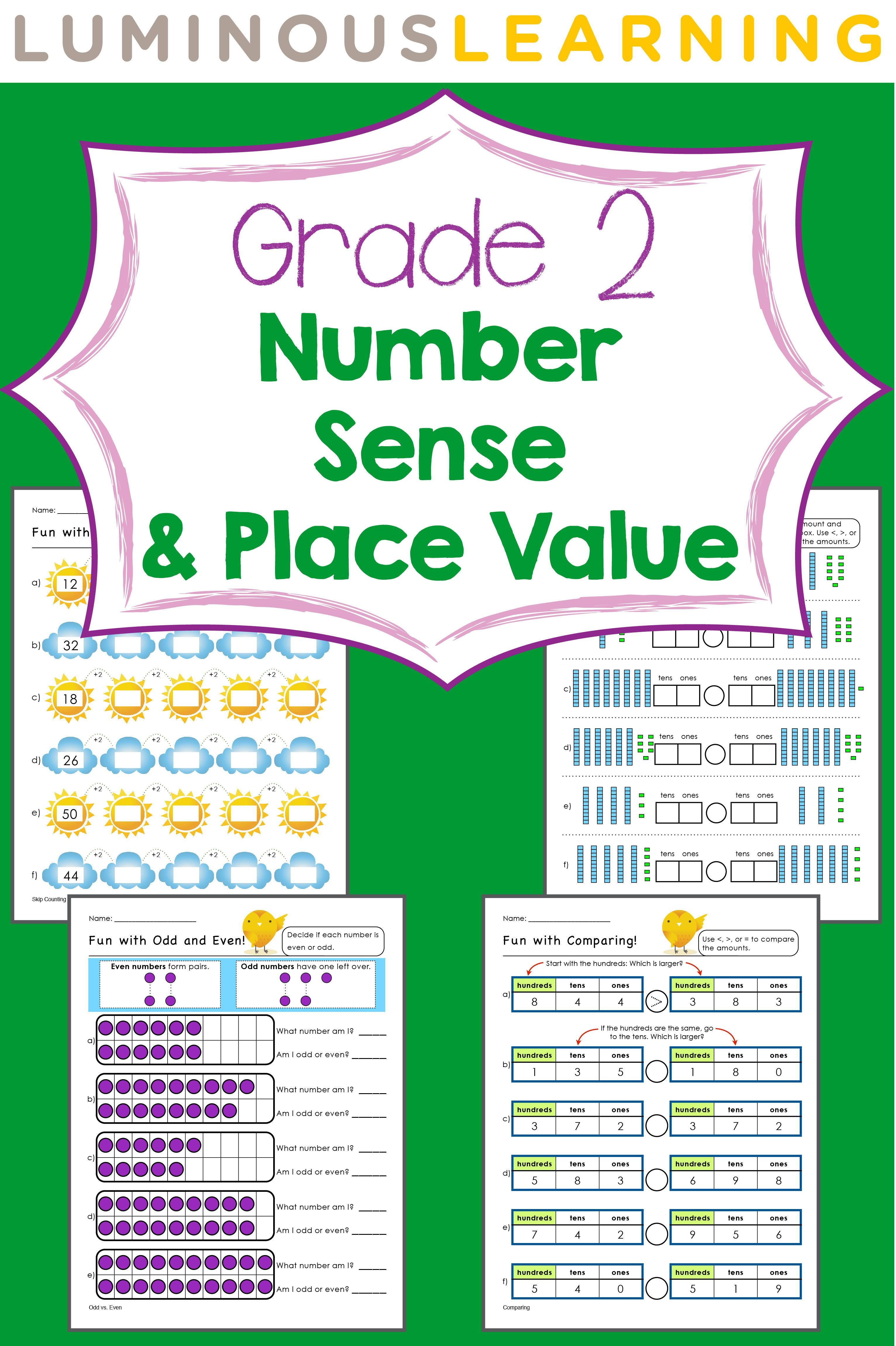 Grade 2 Number Sense And Place Value Workbook Place Values Math Visuals Math [ 4600 x 3063 Pixel ]