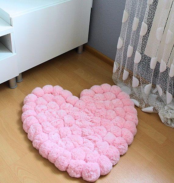 Heart Rug   Pink Rug   Pom Pom Carpet   Soft Area Rug   Kids Rug   Nursery  Decoration   Floor Rugs   Pompom Rug   Decorative Rug   Plush Rug