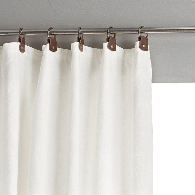 Rideau lin lavé doublé, passants cuir, Private | Bath
