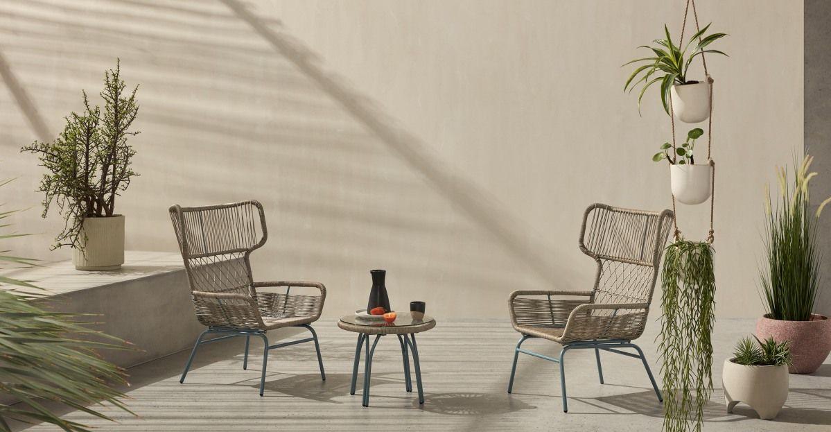 Lyra 3 Tlg Lounge Set Grau Und Blau Salon De Jardin Design Mobilier De Jardin Design Ensemble Table Et Chaise