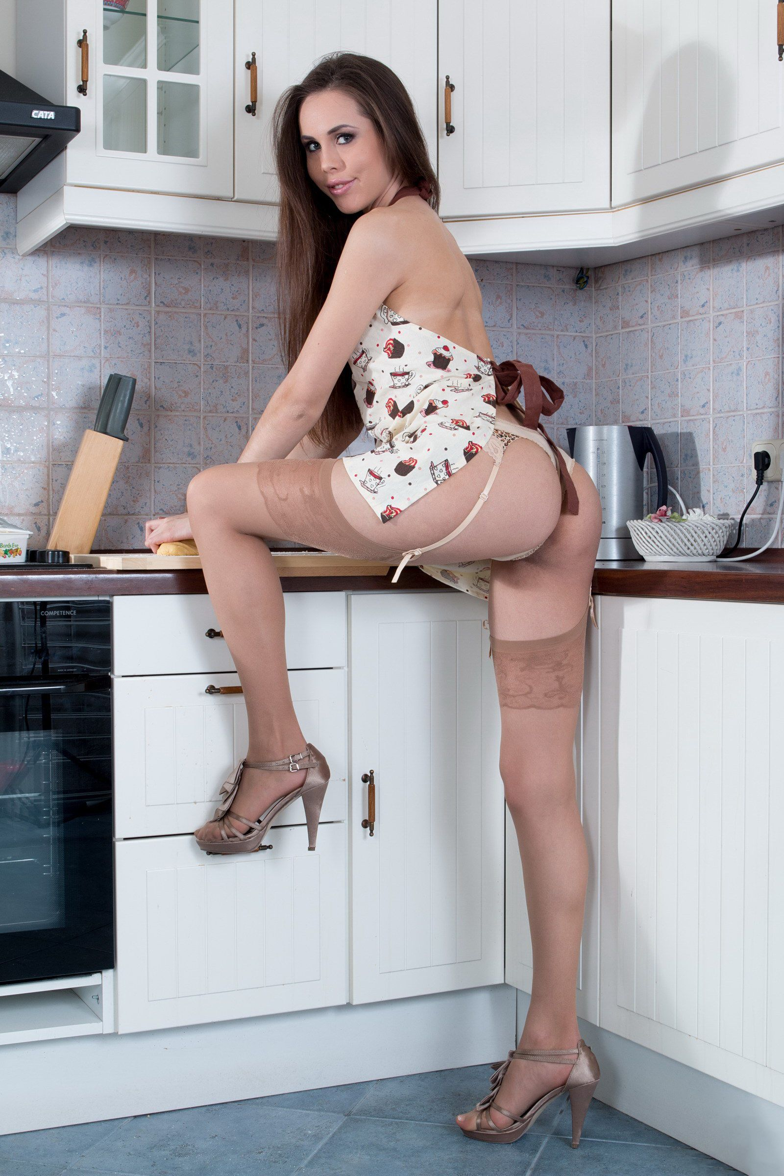 Let's not wearing stockings with apron opinion