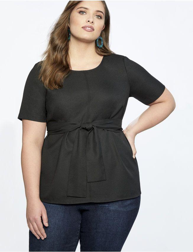 Short Sleeve Tie Front Top   Women's Plus Size Tops