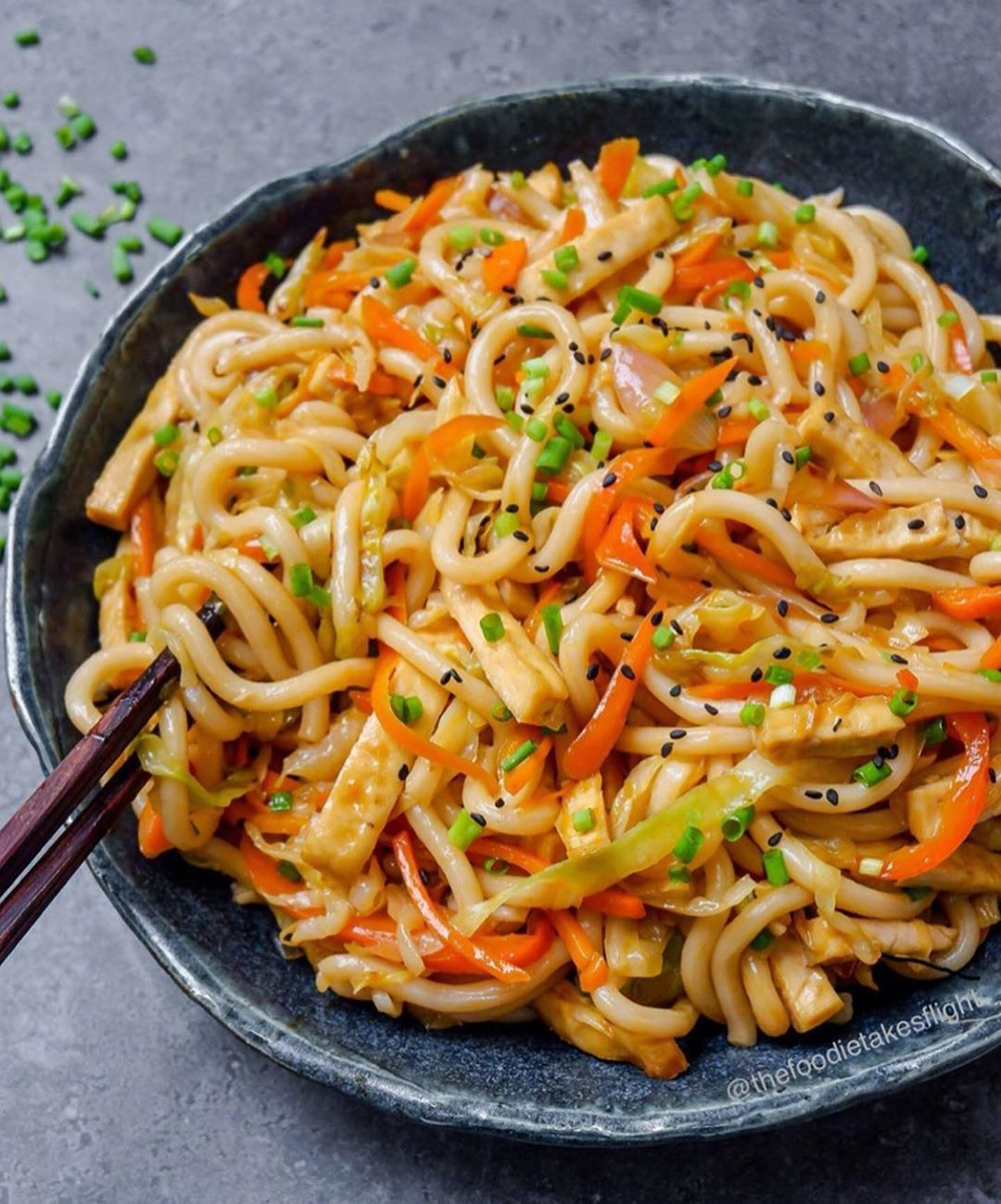 Best Of Vegan Vegan Recipes On Instagram Sweet And Spicy Udon Noodle Stir Fry By Thefoodietakesf In 2020 Udon Noodles Stir Fry Udon Noodles Healthy Snacks Recipes