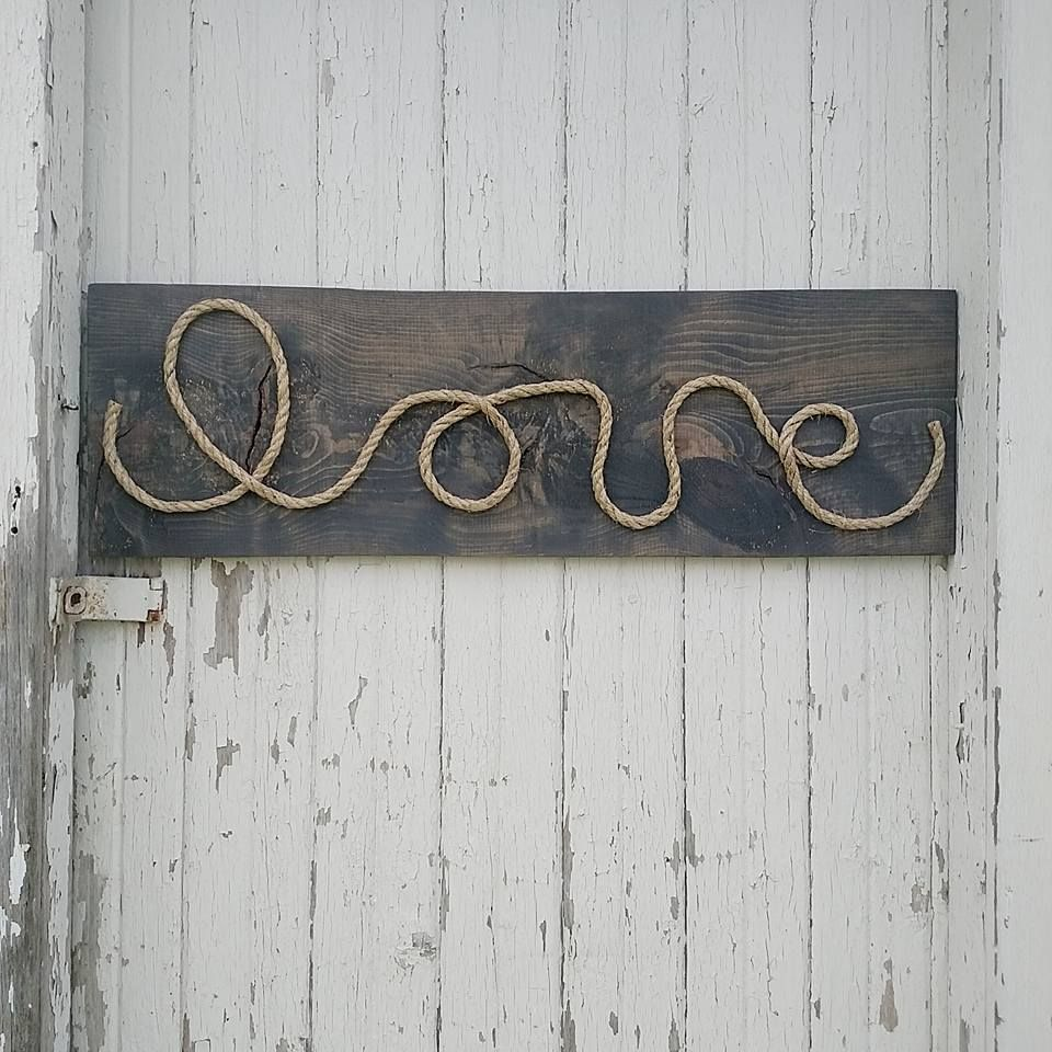 I love making old, vintage looking signs and this rustic reclaimed wood  rope sign is