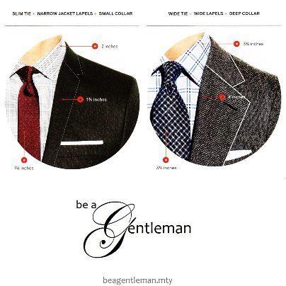 Proporción Talle chico: saco de solapa de 1 1/2 o 2 pulg, camisa de cuello delgado, corbata 'slim fit', nudo sencillo. Talle grande: solapa de más de 3 pulg. camisa de cuello italiano o 'spread', corbata ancha, nudo 'windsor doble'.  Talle mediano: prendas de tamaño medio.