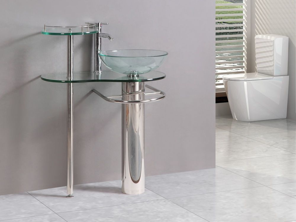 29 Inch Bathroom Vanities Pedestal Vessel Sink Bowl Gl Modern Faucet Set