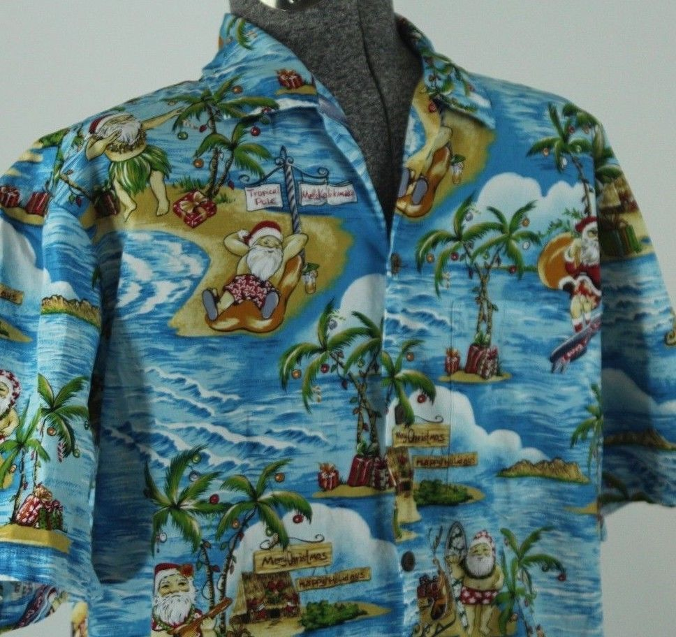 324b88d84 Perfect for a Christmas in July party! Aloha Republic Santa Claus Hawaiian  Shirt. Material: 100% Cotton. | eBay!