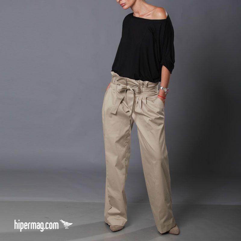 525031efd70 Дамски панталон със свободна кройка, висока талия и колан. #Aggata #pants  #pantalon #hipermag