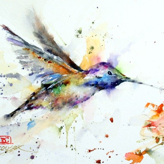 Hummingbird And Flower Colorful Watercolor Print By Deancrouserart 25 00 Watercolor Hummingbird Bird Art Watercolor Bird