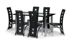 Glass Dining Table And 6 Faux Leather Chairs Clear And Black Glass