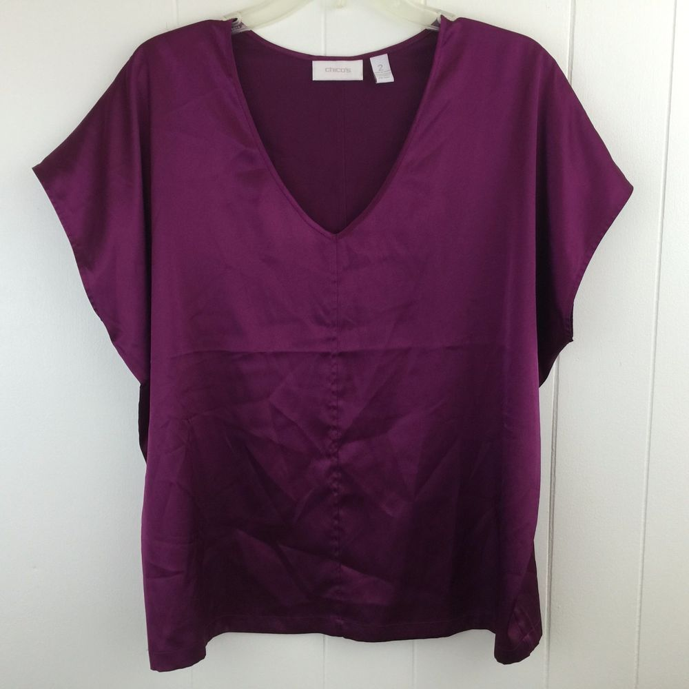 a1a4433f079035 Super Smooth Satin feel in this Chico s blouse! Solid burgundy color in a  boxy style. Size 2 (12 14)
