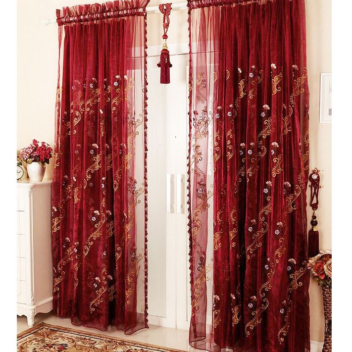European Romantic Luxury Flocking Red Sheer Curtains Only Red