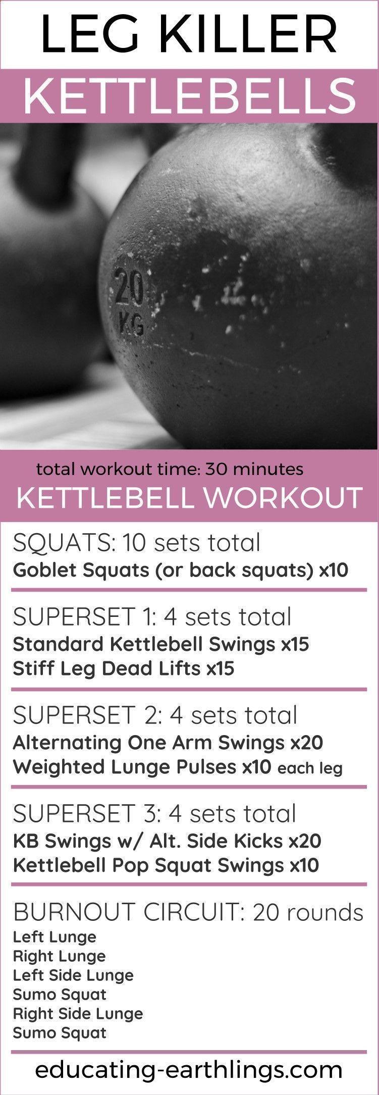 Program Weight Loss - leg killer kettlebell workout, leg workout, at ...