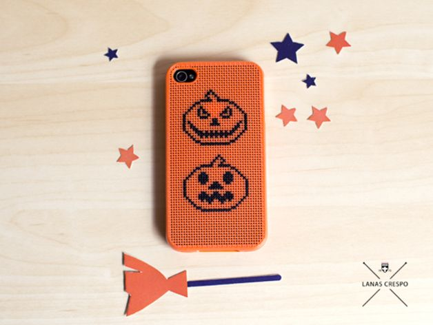 Halloween in DaWanda Scary Halloween Pumpkins Cross stitch iPhone 4/4s case.  This case is made to order, so it takes three days, then send it to its destination. In total take about 10-12 days to receive it at...