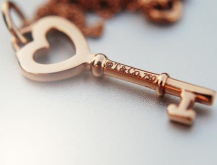 Tiffany & Co. gold heart key
