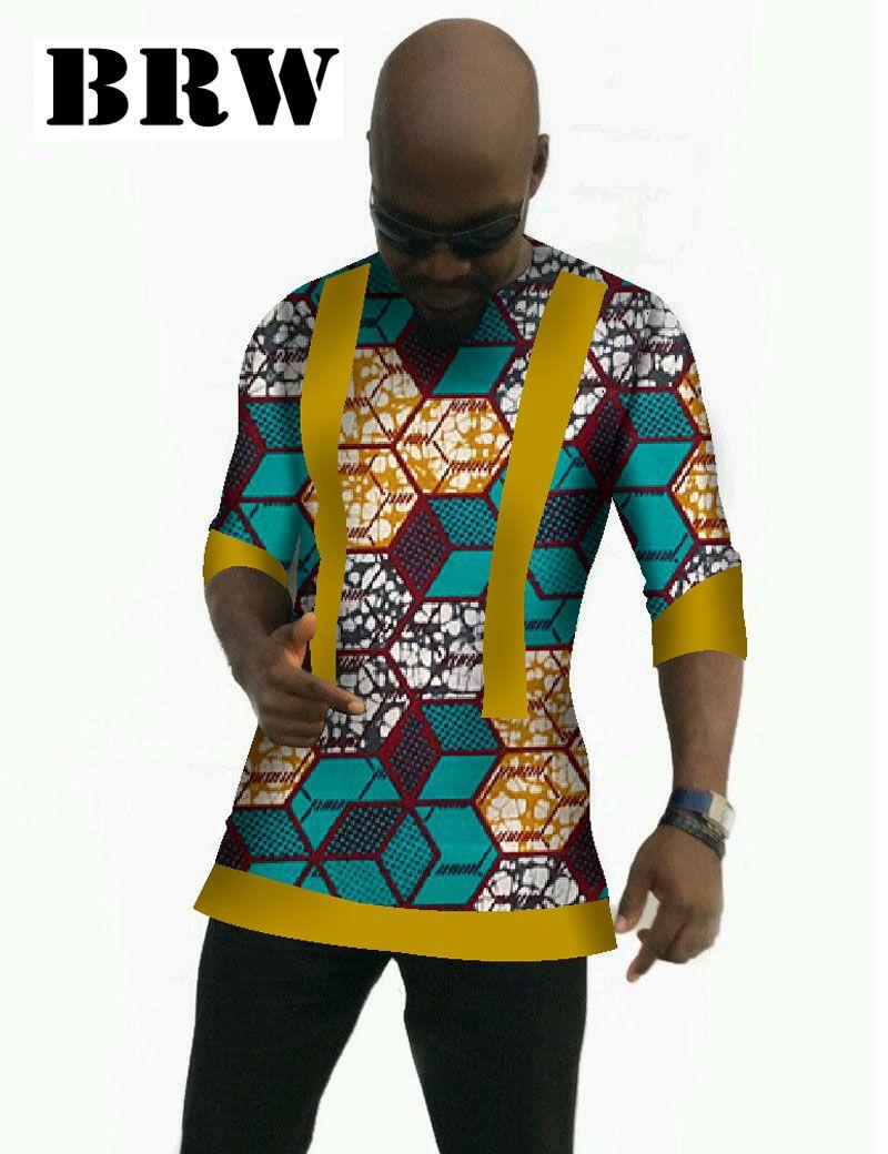 09c3bb392 África Estilo camiseta de Manga Tres Cuartos Dashiki Impreso Hombres Más  Tamaño Ropa Tradicional Africana Mens Tops WYN61(China (Mainland))