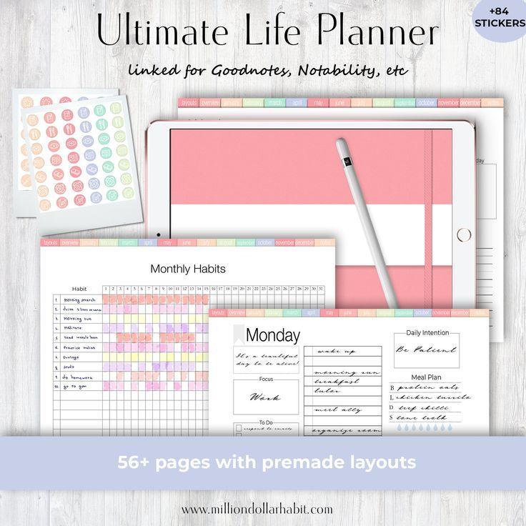 Digital Planner Goodnotes Digital Life Planner Landscape | Etsy