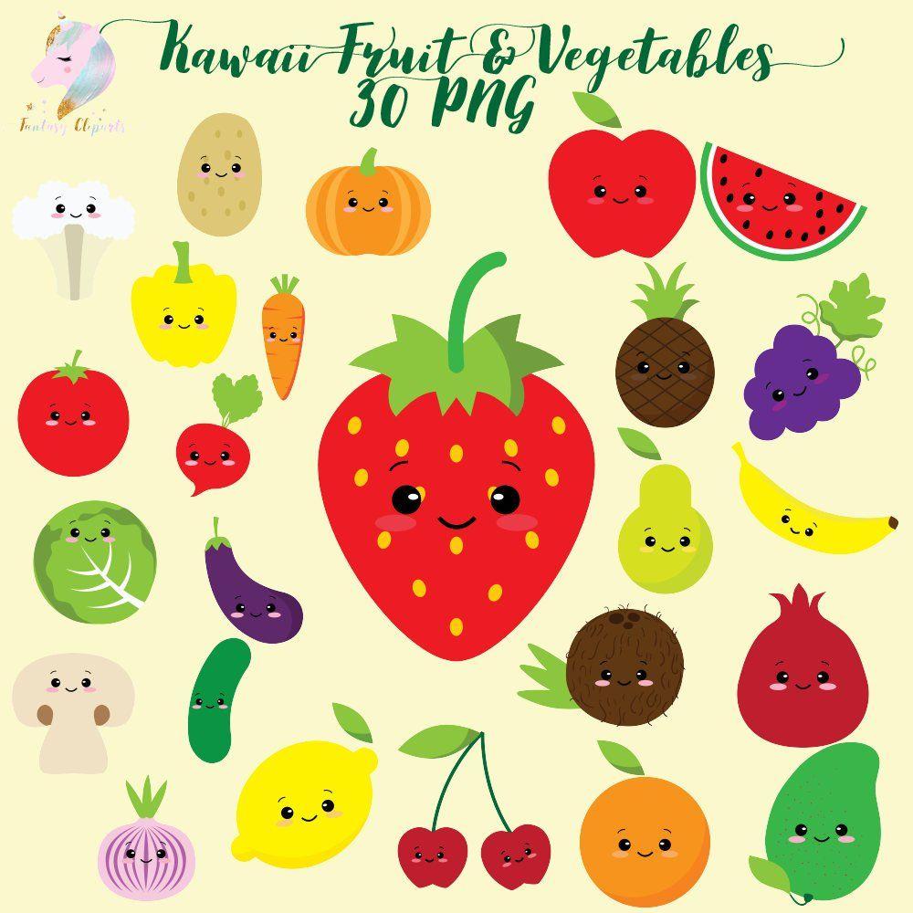 Kawaii Fruit Vegetables Clipart Kawaii Fruit Fruit Clipart Handmade Stationery