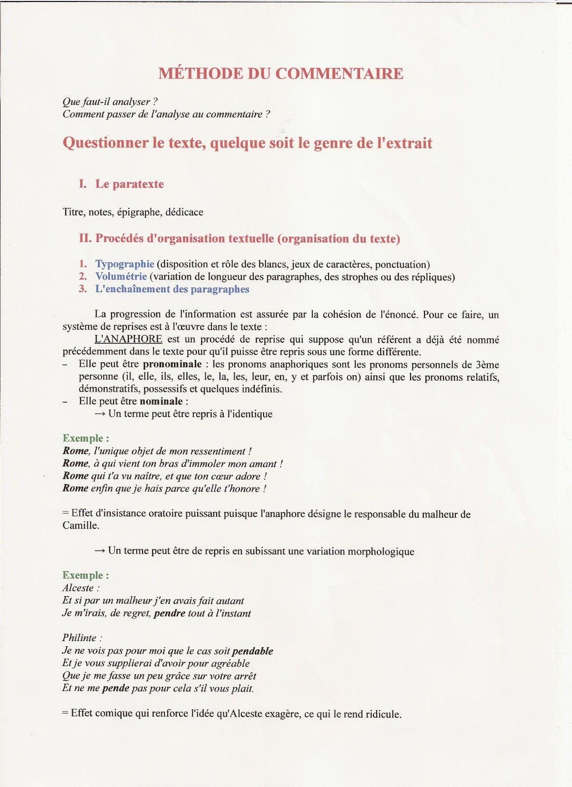 La Vraie Methode Du Commentaire Le Blog De Alexis Bac De Francais Bac Francais Oral Revision Bac Francais