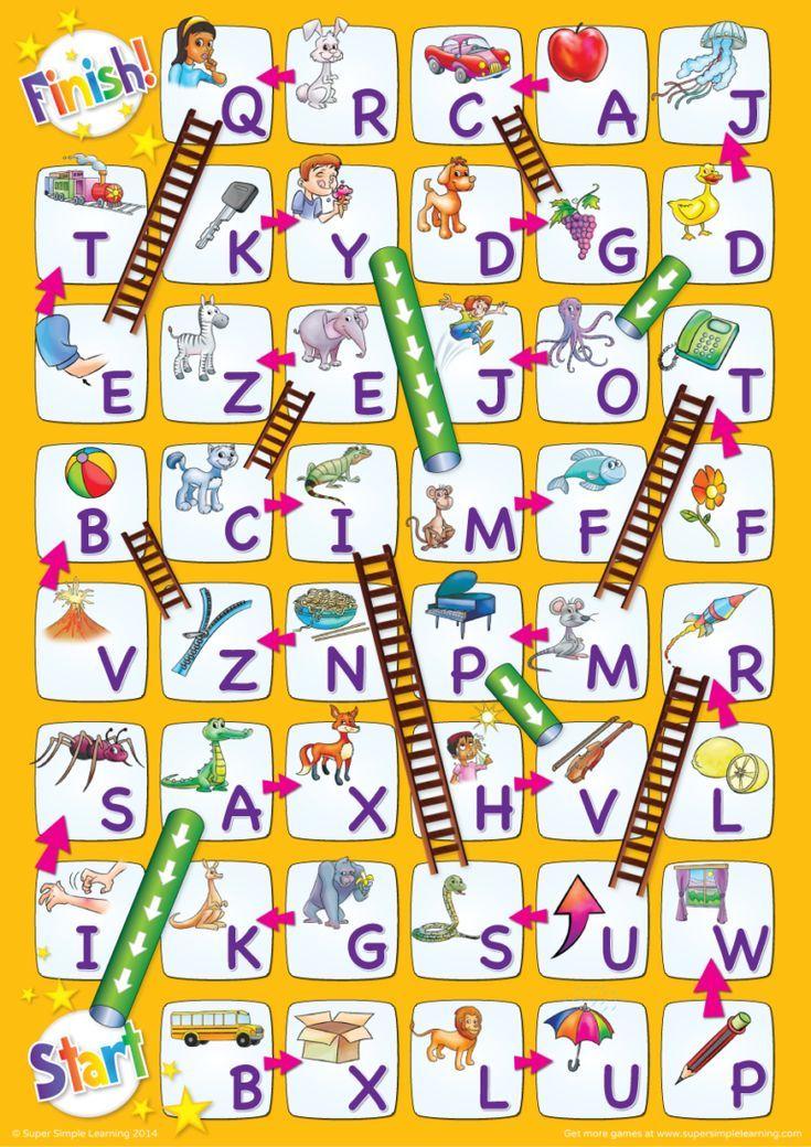 Uppercase Alphabet Chutes & Ladders Game - Super Simple