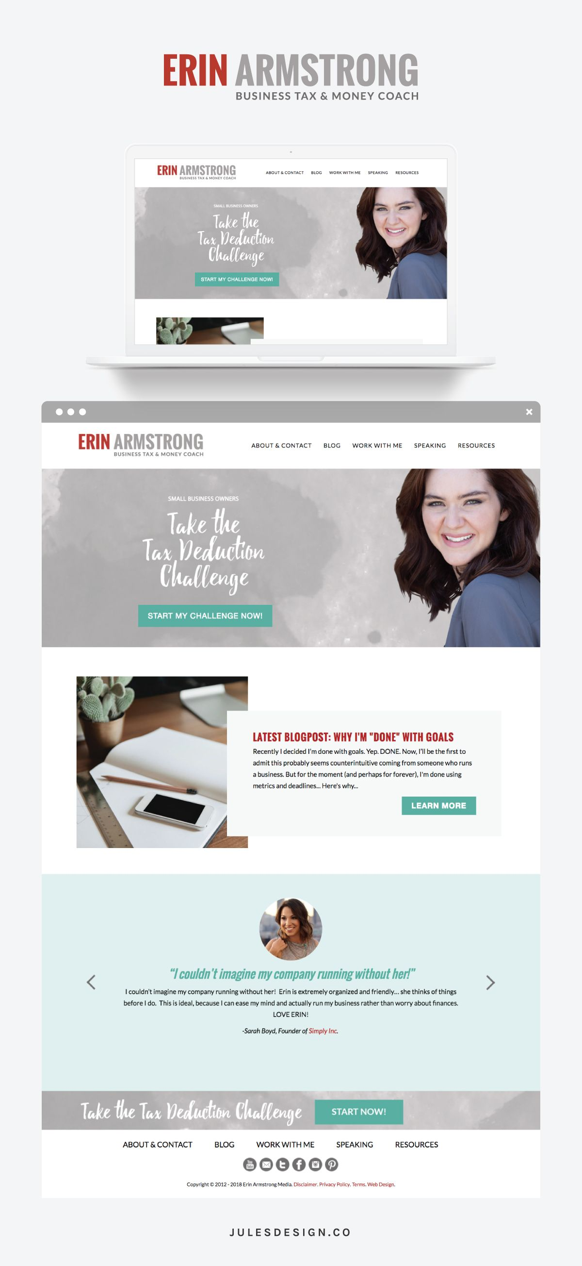 Erin Armstrong Jules Design Wordpress Website Design Website Design Custom Website Design